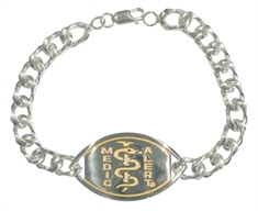 Large Emblem Sterling Silver, Gold Plated Logo with Executive Bracelet