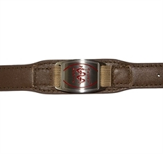 Stainless Steel Medical ID with Tan Leather-Like Strap