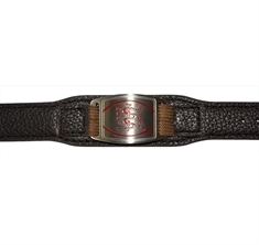 Stainless Steel Medical ID with Dark Brown Leather-Like Strap