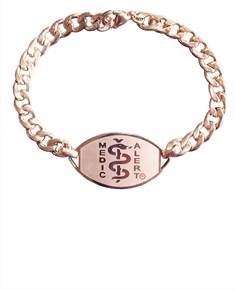 Small Emblem Rose Gold Coloured Stainless Steel Bracelet
