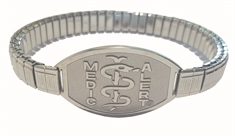 Small Emblem Stainless Steel with Medium Sleek Stretch Band