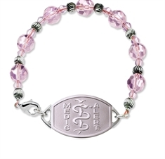 Small Emblem Plain Logo with Pink Beaded Bracelet 17.5cm
