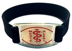 Silicone Band with Stainless Steel Emblem - Small
