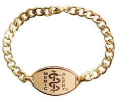 Small Emblem Gold Coloured Stainless Steel Bracelet