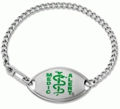 Small Emblem Green Resin Coated Logo Bracelet