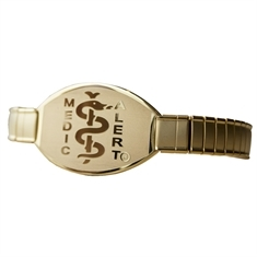 Gold Stainless Steel Stretch Band - Large Emblem