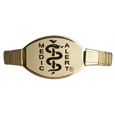 Gold Stainless Steel Stretch Band - Small Emblem
