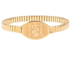 Large ID Premium Gold Stainless Stretch Band 23cms