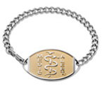 Large Emblem Stainless Steel with Gold Titanium Setting Bracelet