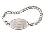 Small Emblem Sterling Silver (Rhodium Coated) Bracelet