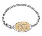 Small Emblem Stainless Steel Gold Titanium Coated Setting Bracelet