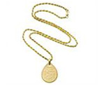 14ct Gold Teardrop Braided Pendant with French Rope Chain