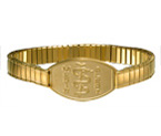 Large Emblem Gold Titanium Coated Bold Stretch Band
