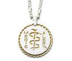 Sterling Silver Braided Pendant - Gold Plated Recessed Logo