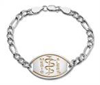 Large Emblem Sterling Silver with Gold Plated Logo Bracelet