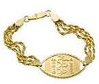 14ct Gold Small Braided Emblem Bracelet
