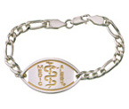 Small Emblem Sterling Silver with Gold Plated Logo Bracelet