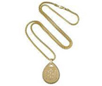 14ct Gold Teardrop Braided Pendant with Box Chain