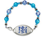Medium Silver & Blue Glass Beaded Bracelet with Small Blue Resin Coated Emblem