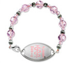 Small Emblem Pink Logo with Pink Beaded Bracelet 17.5cm