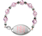 Small Emblem Pink Logo with Pink Beaded Bracelet 15cm