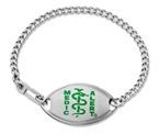 Small Emblem Green Resin Coated Logo Bracelet - A657