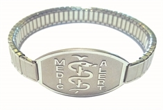 Large Emblem Stainless Steel with Large Sleek Stretch Band