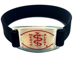 Silicone Band with Stainless Steel Emblem - Large