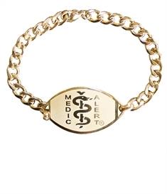 Large Emblem Gold Coloured Stainless Steel Bracelet