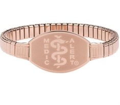 Large ID Premium Rose Gold Stainless Stretch Band 21cms