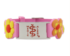 Kids Stainless Steel ID with Pink Silicone Band - K002