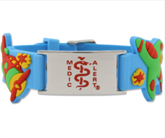 Kids Stainless Steel ID with Blue Silicone Band