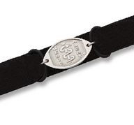 Small Black Velcro Sports Band With Small Stainless Steel Classic Emblem