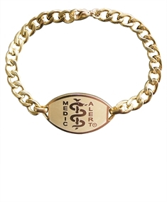 Small Emblem, Gold Coloured Stainless Steel Bracelet