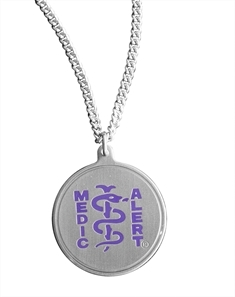 Round Pendant with Purple Resin Coated Logo